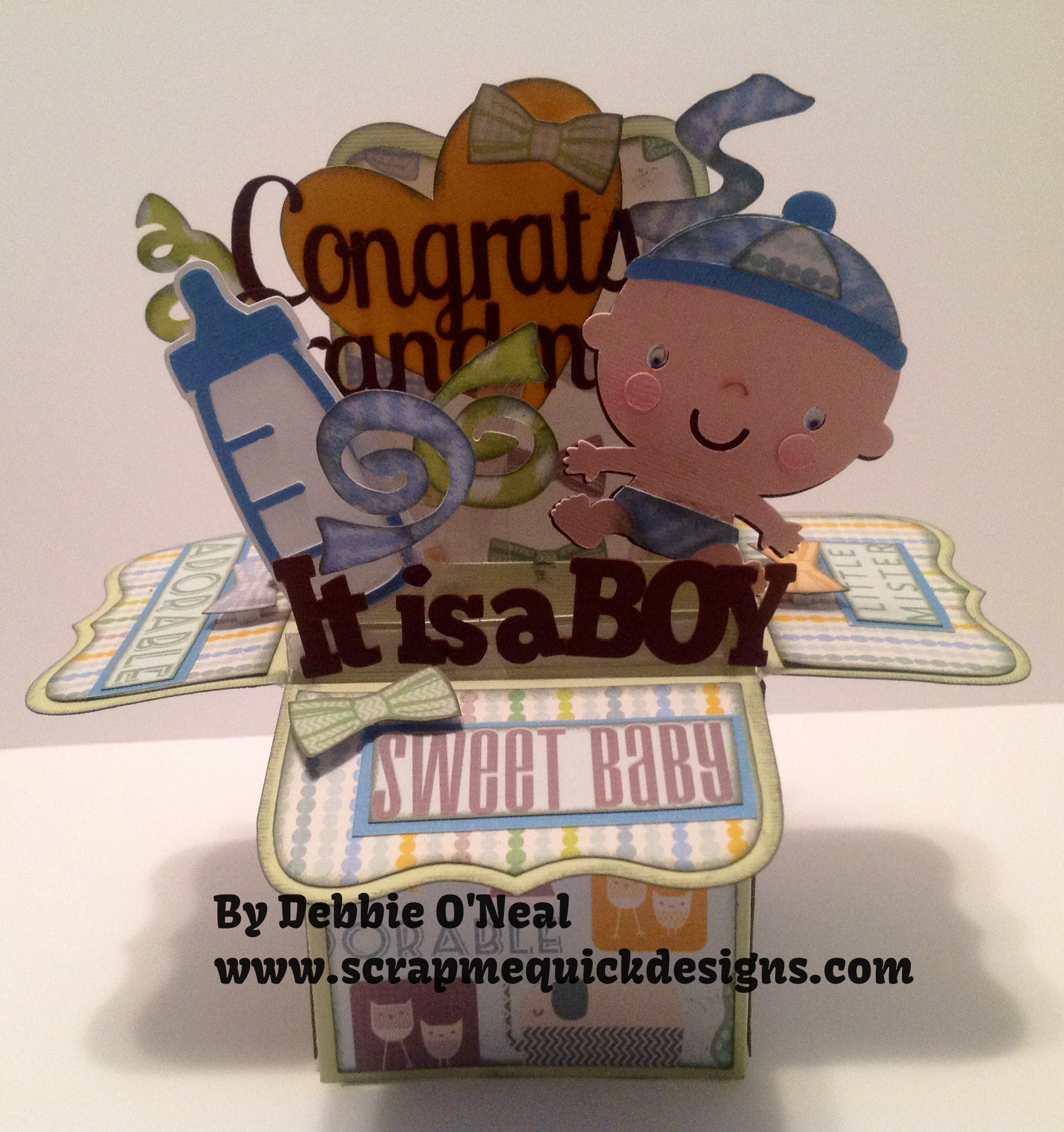 its a boy pop up box card